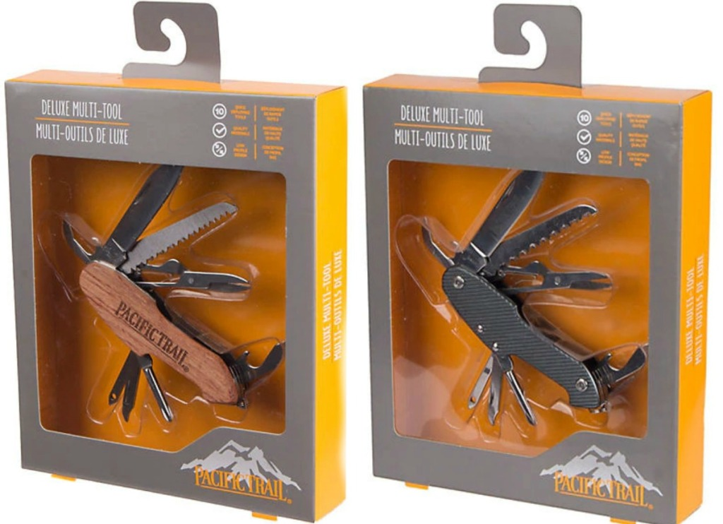 Pacific Trail Multi Tool in package in graphite color and wood grain
