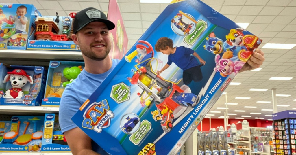 Stetson holding Paw Patrol Lookout Tower