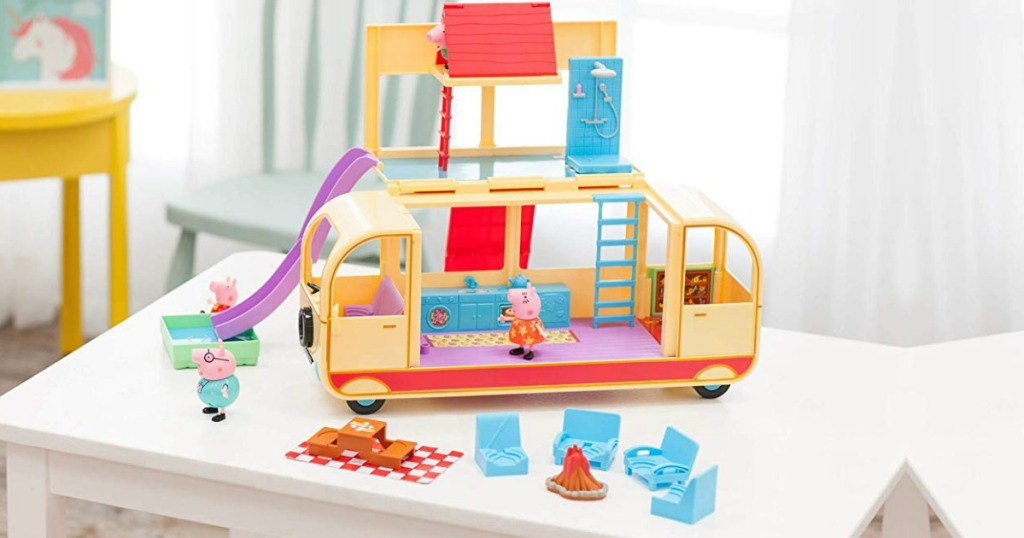 Peppa Pig's Transforming Campervan open on table