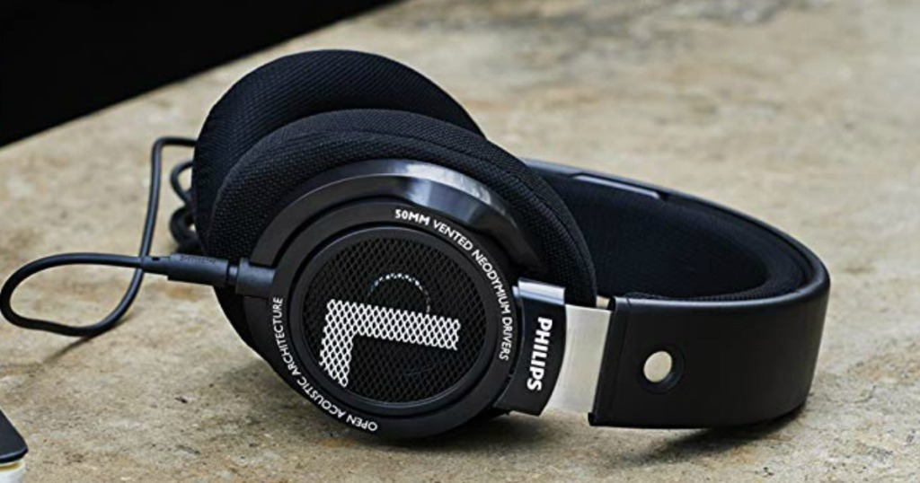 Philips SHP9500 HiFi Precision Stereo Over-Ear Headphones laying on table