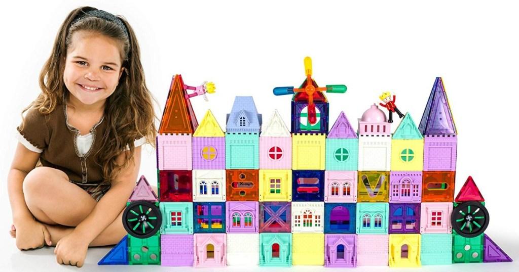 girl building PicassoTiles Castles