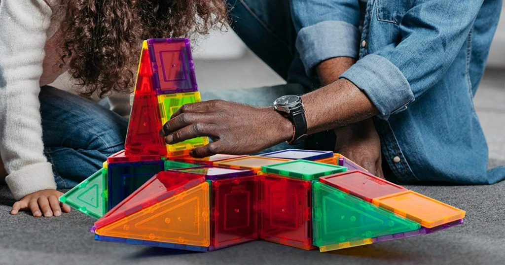Man & girl playing with PicassoTiles Magnet Building Tiles 100-Piece Set
