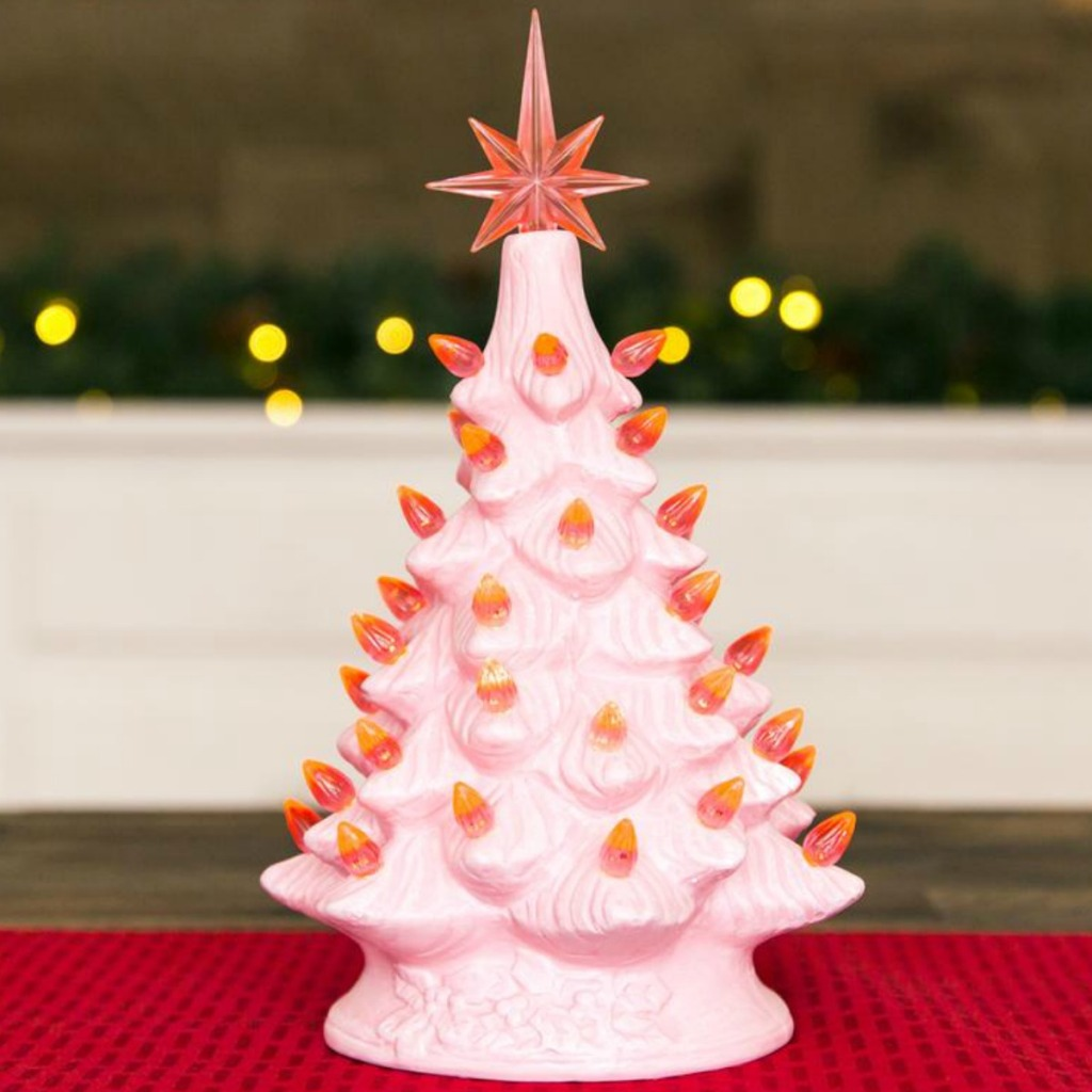 Pink colored ceramic tree