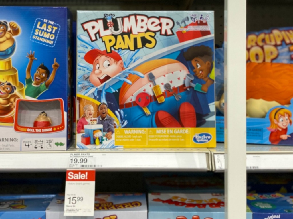 Plumber Pants Board Game at Target on display in-store