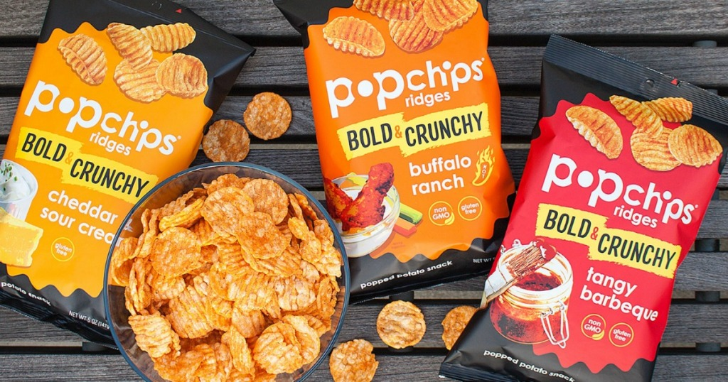 PopChips Bold varieties in bags near bowl of popchips