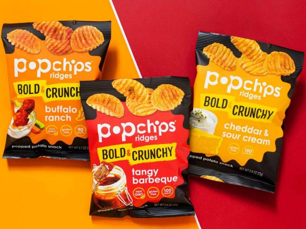 Three flavors of PopChips Ridges