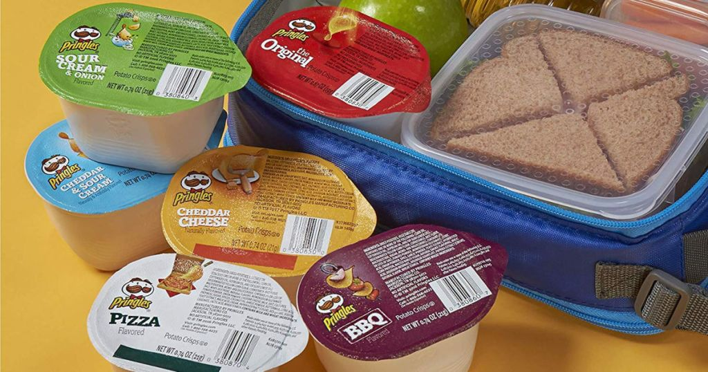 Pringles Chips Variety Packs with lunch box with sandwich and apple