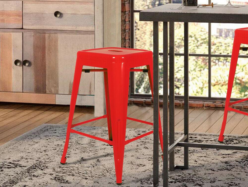 Red Metal Stool