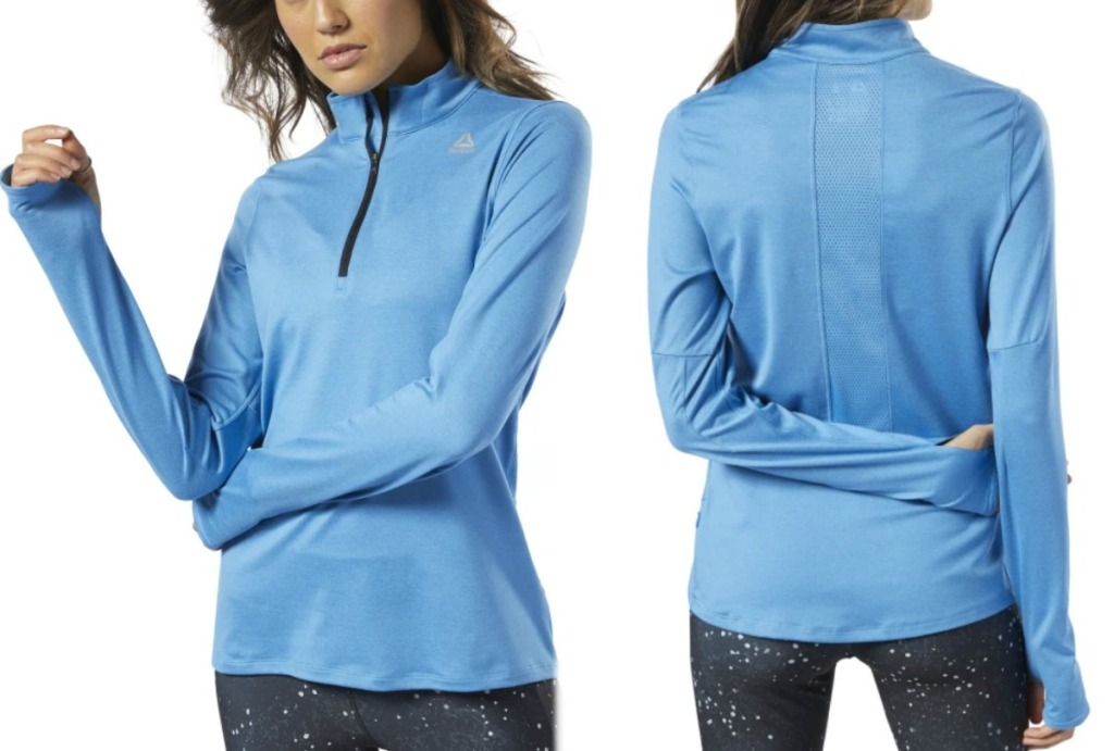 Reebok Women's Jacket in Cyan blue color, front and back view