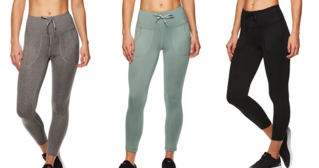 3 pairs of Reebok Womens leggings in different colors
