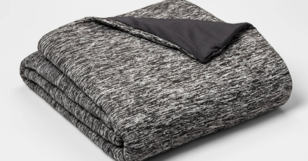 folded up room essentials gray and white weighted blanket