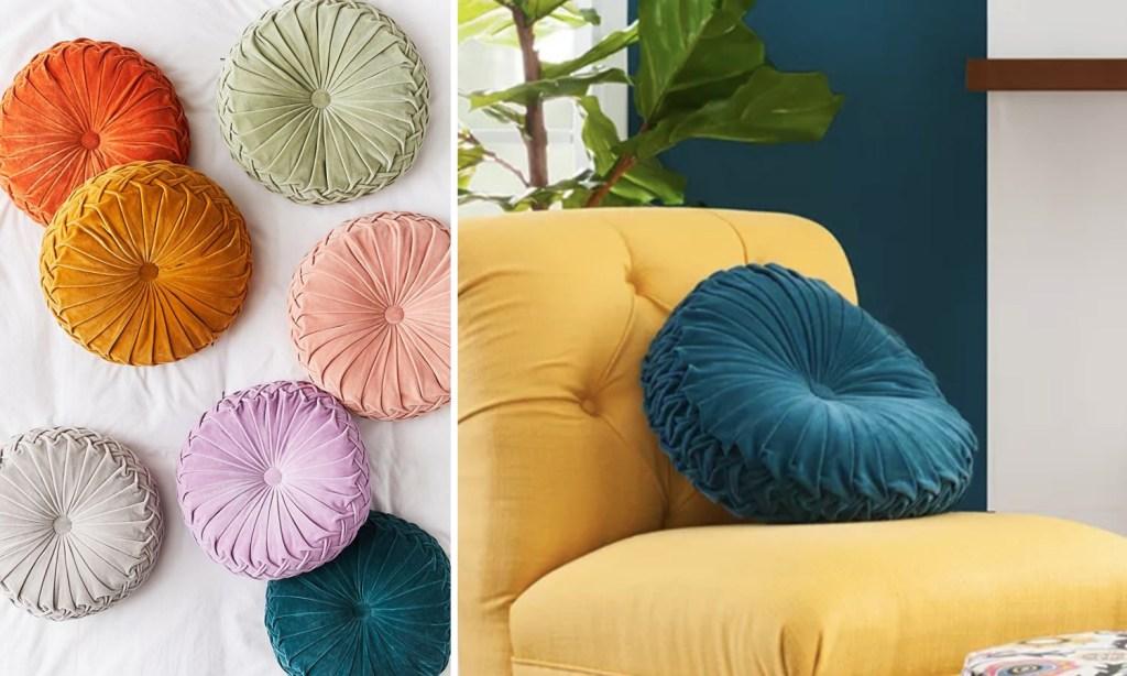 Plush Round Pillows on a Chair