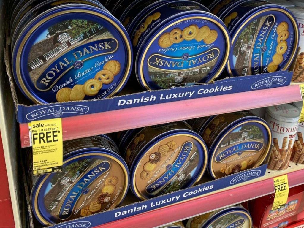 Royal Dansk Danish Cookies on Walgreens shelf