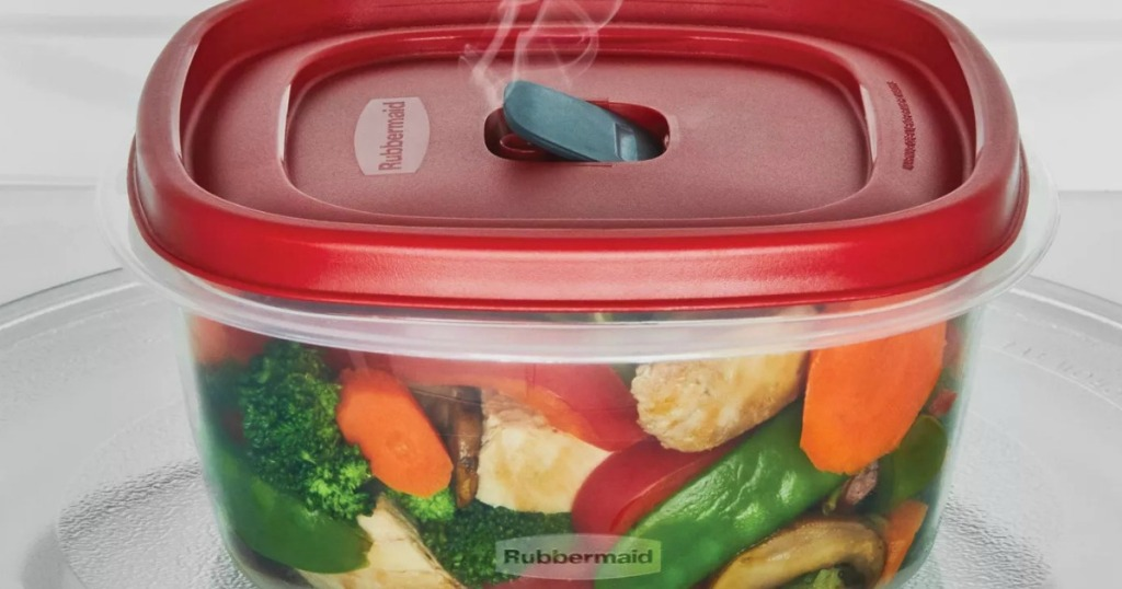 Rubbermaid Plastic food storage container with red lid steaming vegetables in microwave