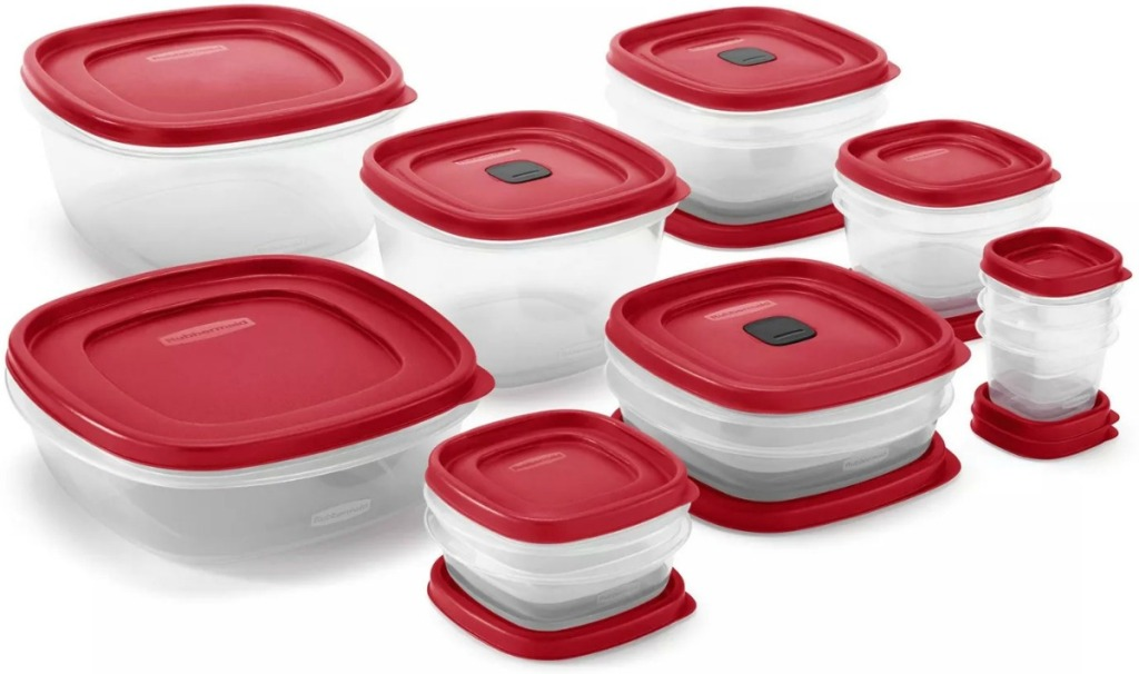 A variety of Rubbermaid Storage Containers with coordinating tops