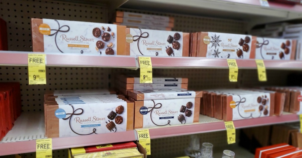 Russell Stover Boxed Chocolates on Walgreens shelf