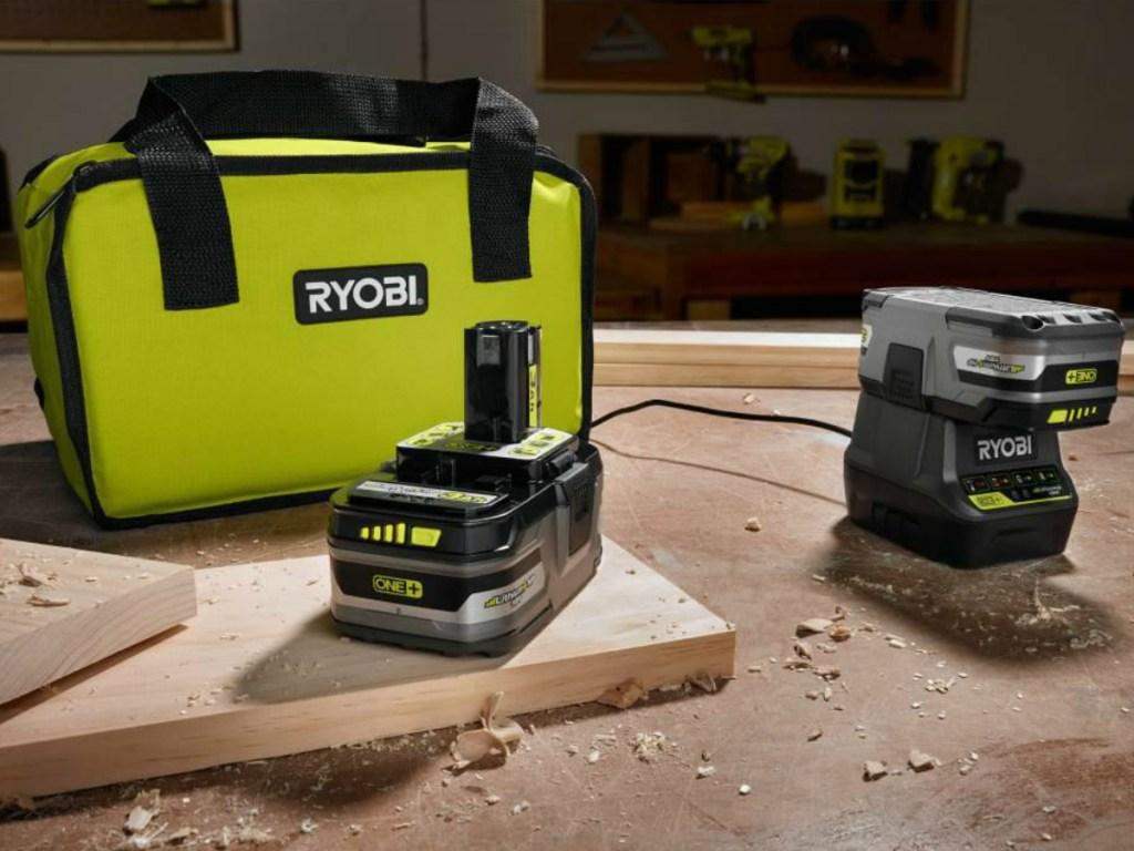 Ryobi Battery Charger and Storage Bag on work table
