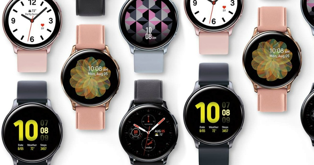 Samsung Galaxy Active 2 smartwatches in various colors