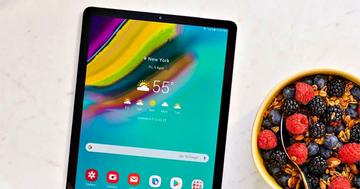 Samsung Galaxy Tab A 10.1-Inch 32GB Tablet next to a bowl of fruit