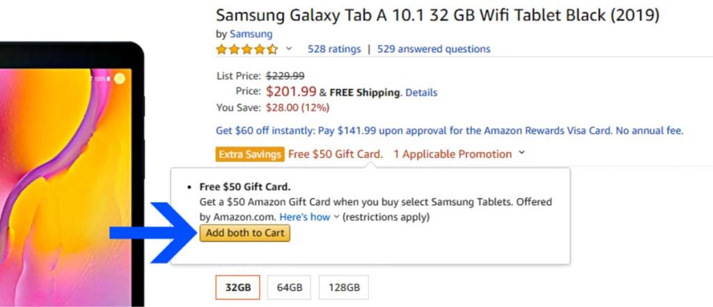 Samsung Galaxy Tab A offer on Amazon