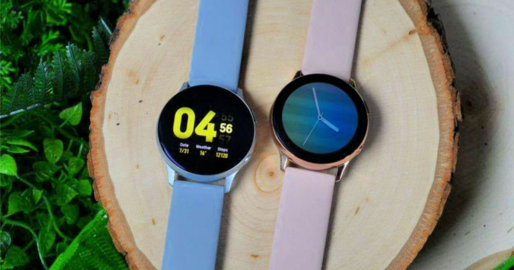 Samsung Galaxy Watch Active 2 smartwatches on tree trunk