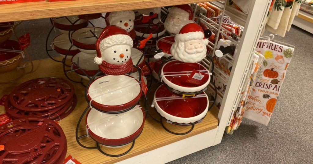 Santa and snowman holiday decor bowls