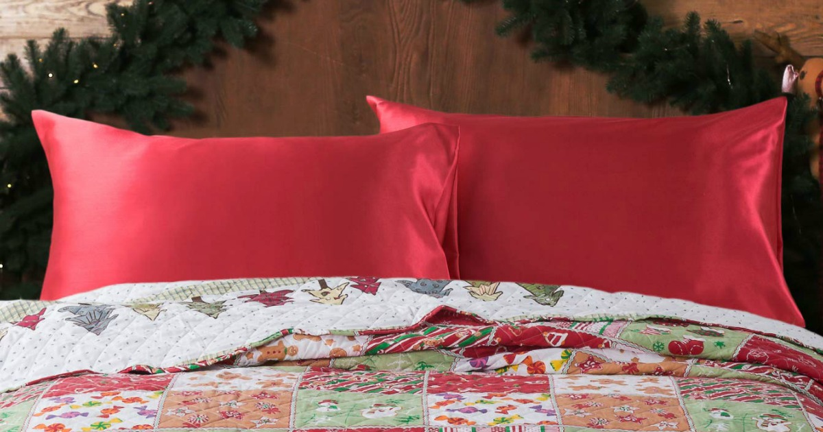 Satin Pillowcases from Amazon on holiday themed bedspread