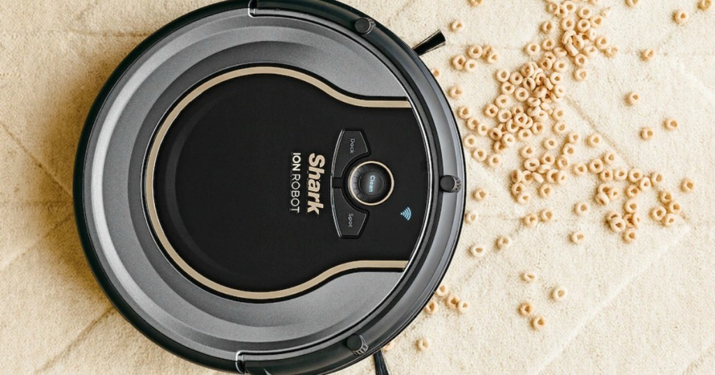 Shark ION Robot Vacuum with cheerios on the ground