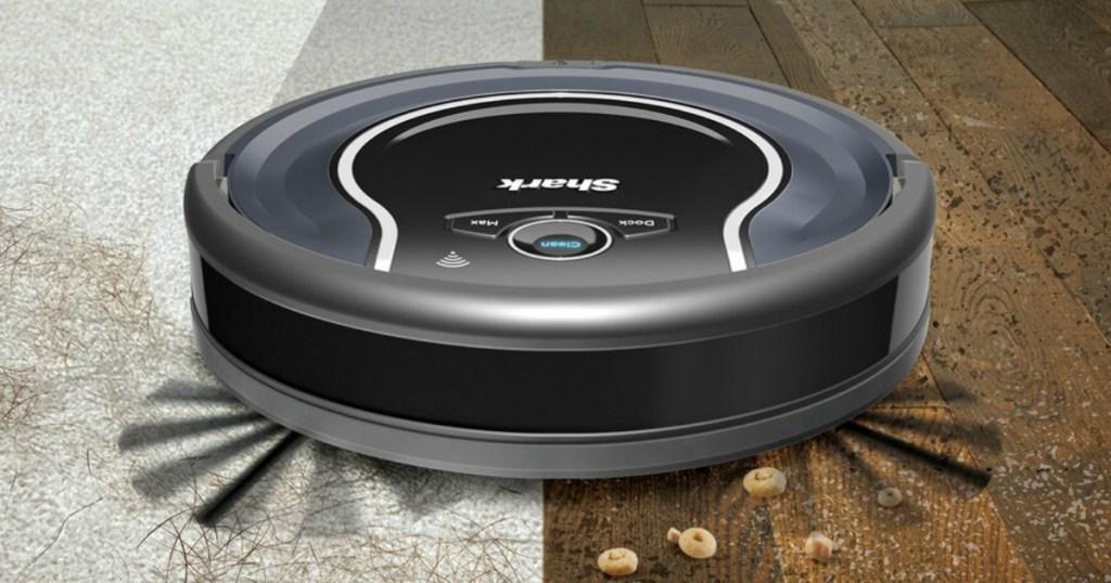 Shark ION Vacuum cleaning carpet and wood floors