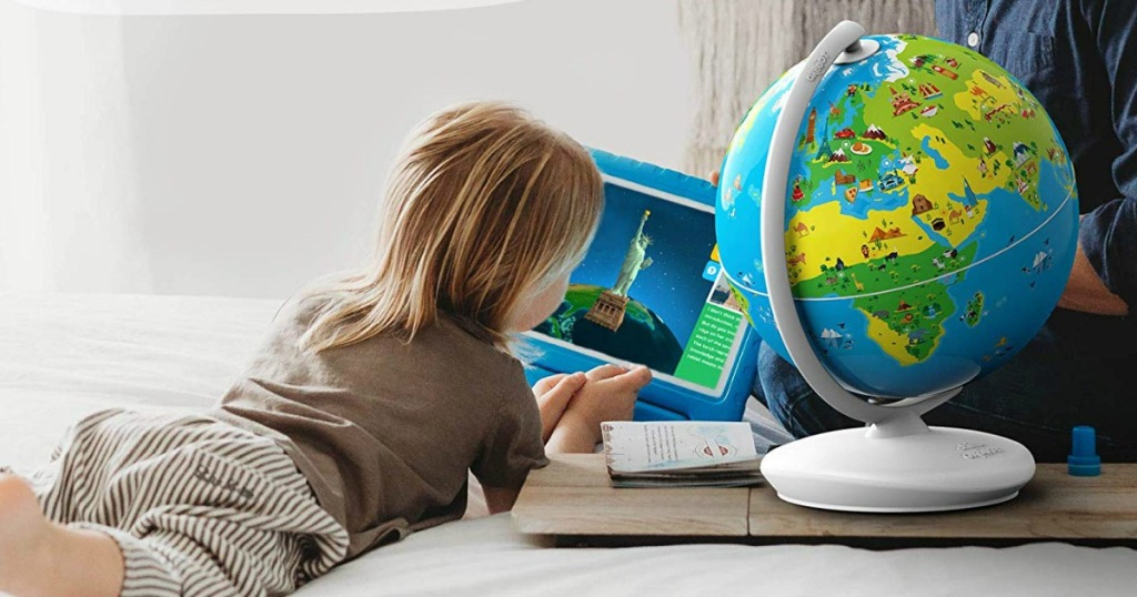 kid playing with the Shifu Orboot Augmented Reality Interactive Globe