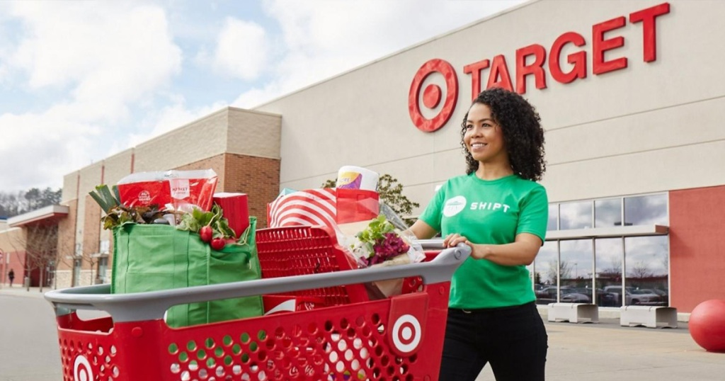 Shipt Shopper Pushing Target Shopping Cart