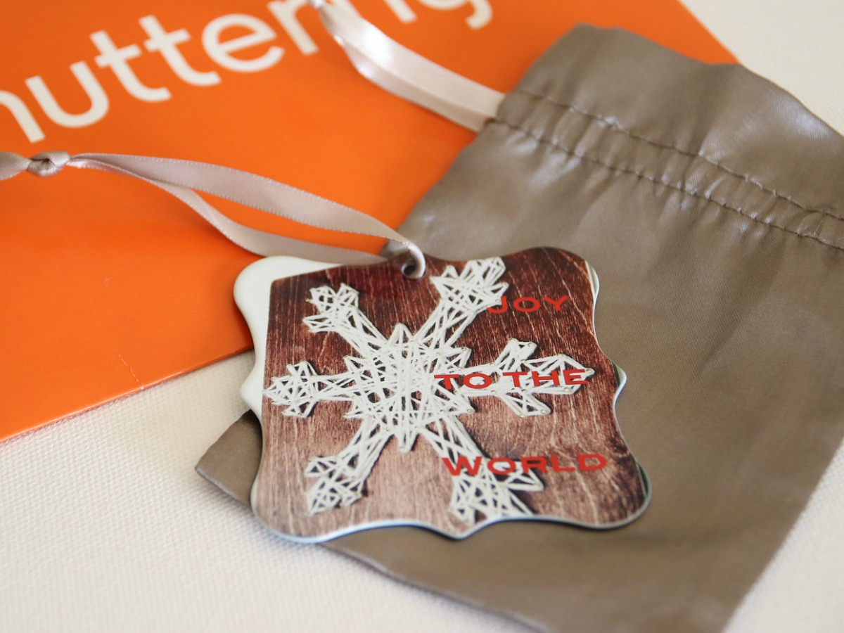 Metal Shutterfly Ornament with bag