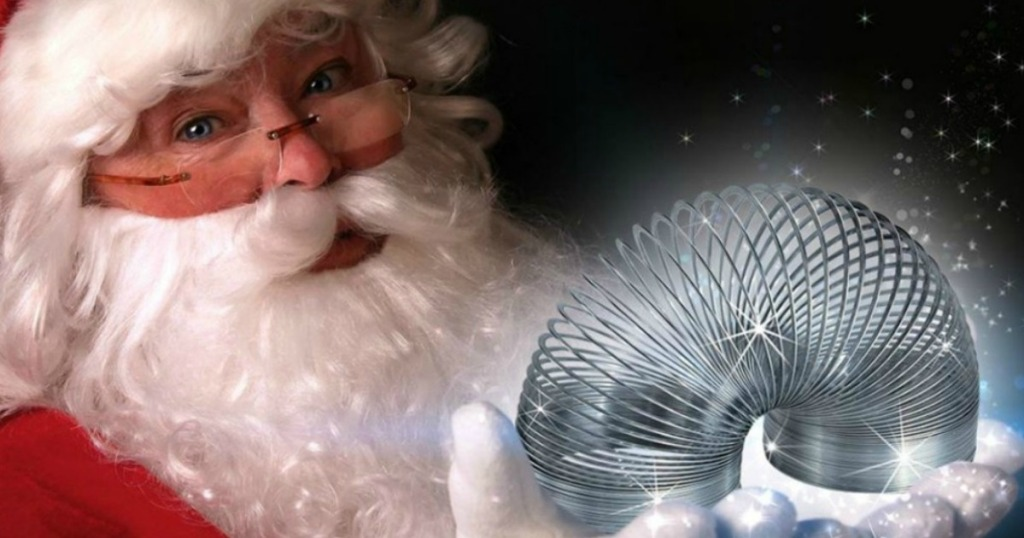 Santa holding a slinky