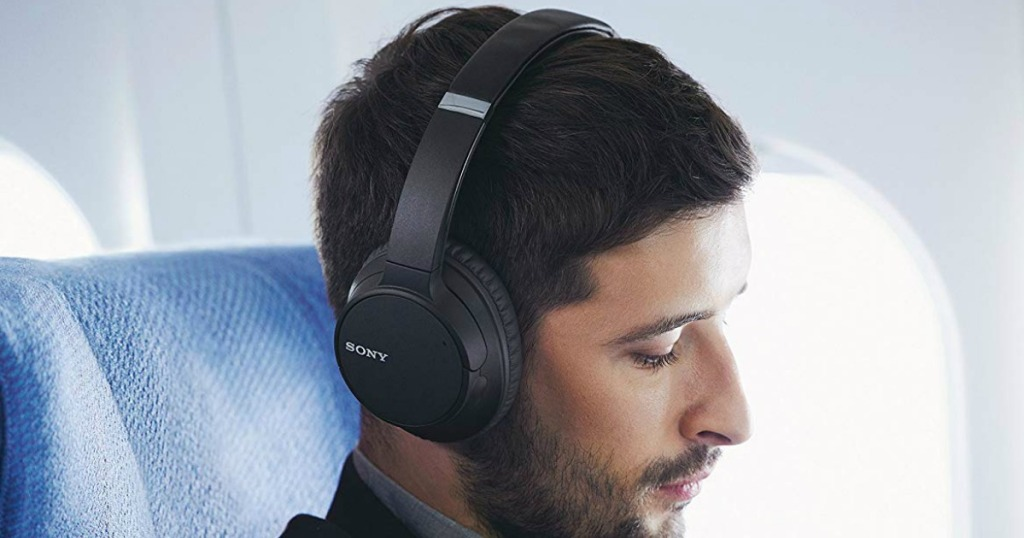 Man wearing Sony Noise Cancelling Headphones