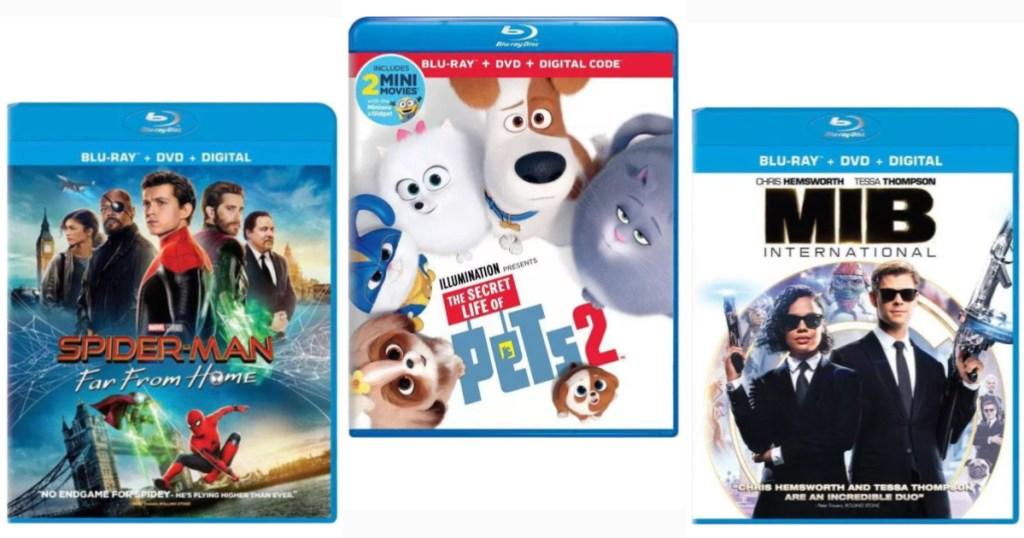 Spiderman Far From Home, Secret Life of Pets 2, MIB International Blu-Ray