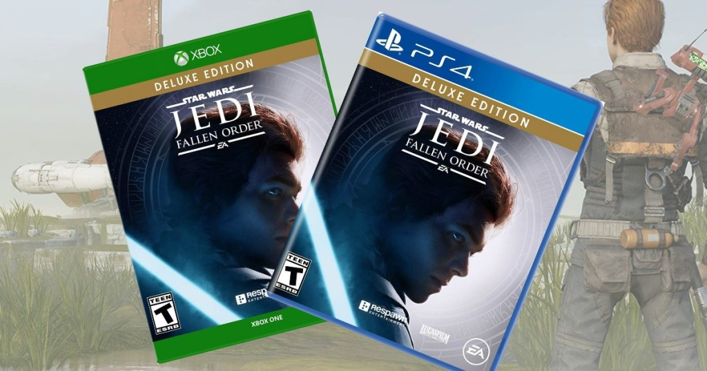 Star Wars Jedi Fallen Order video game for two gaming consoles in front of video game scene
