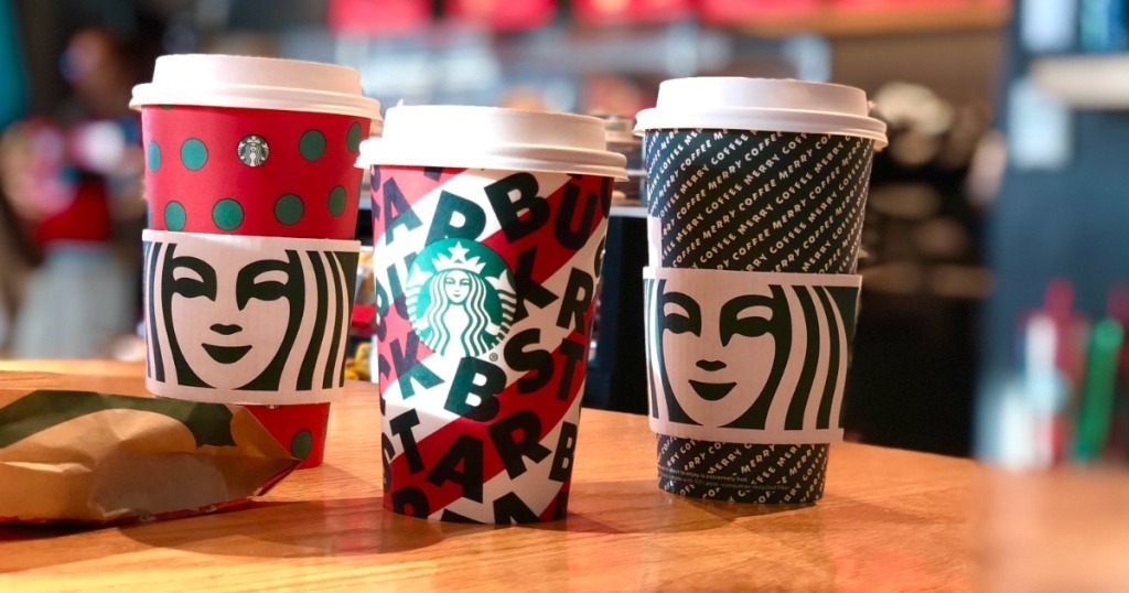 Starbucks Holiday Cups on counter