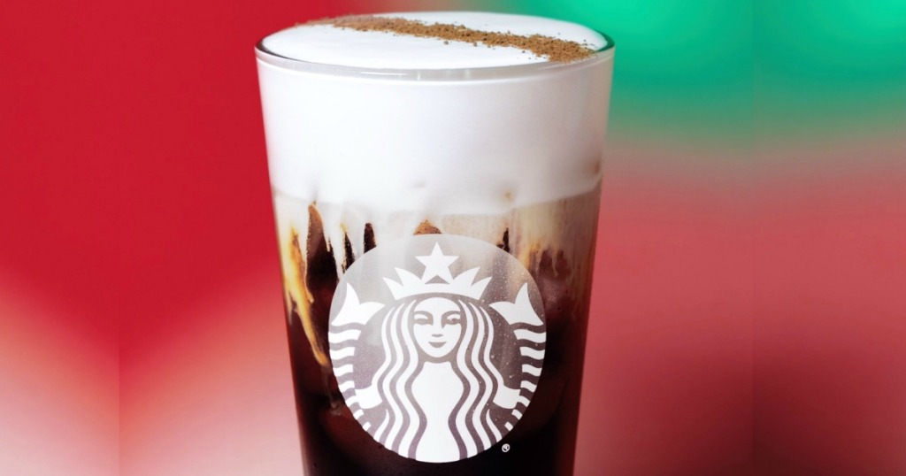 Starbucks Irish Cream Cold Brew with Christmas background