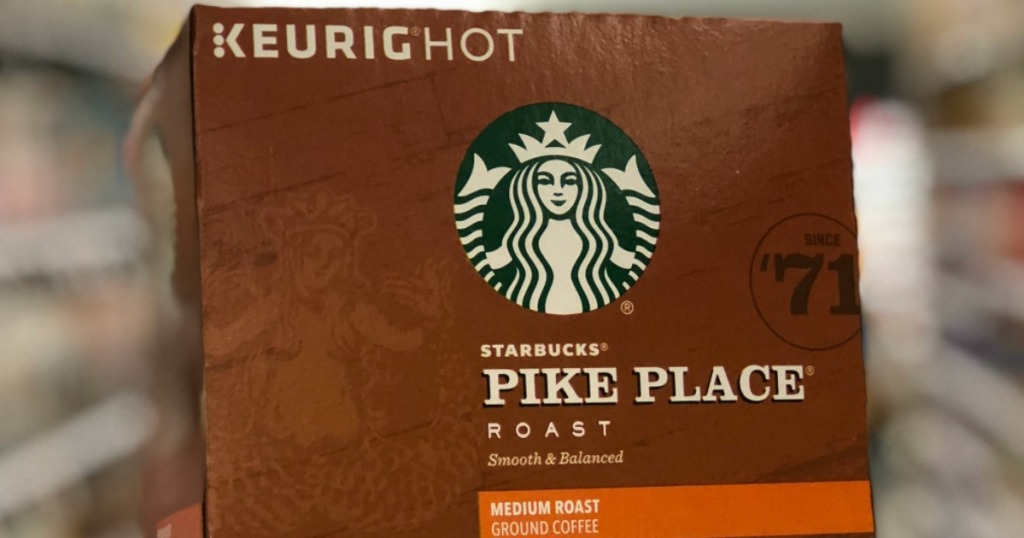 Starbucks Pike Place K-Cups box with blurry background