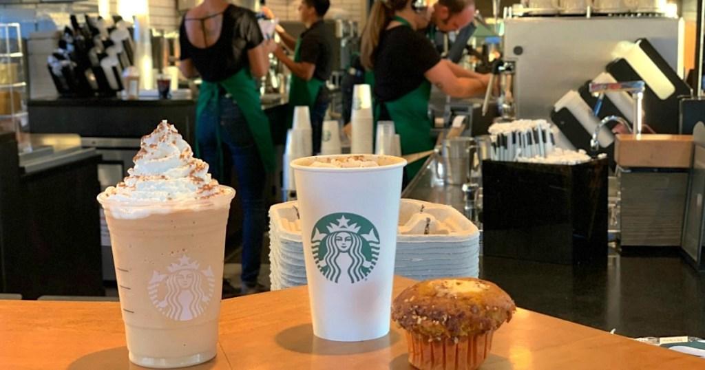 Starbucks drinks at restaurant on counter