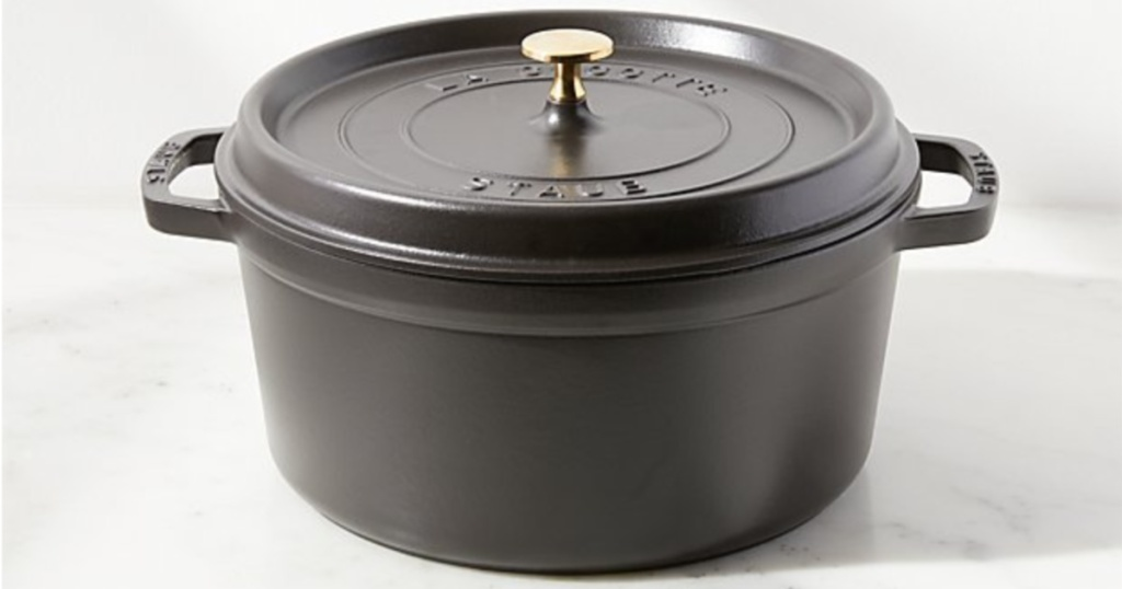 black dutch oven on kitchen counter