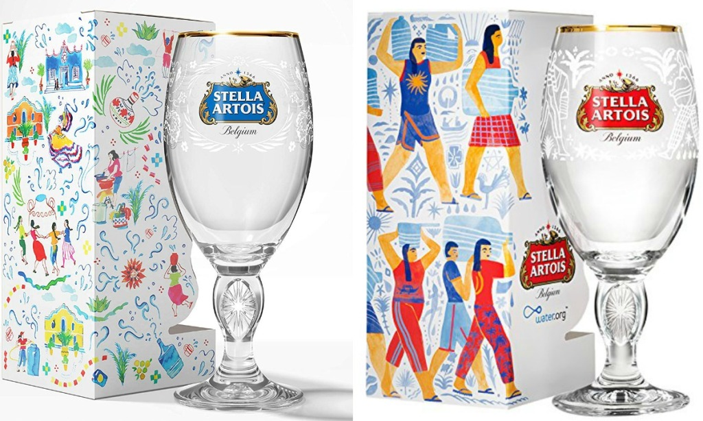 Two Stella Artois beer glasses