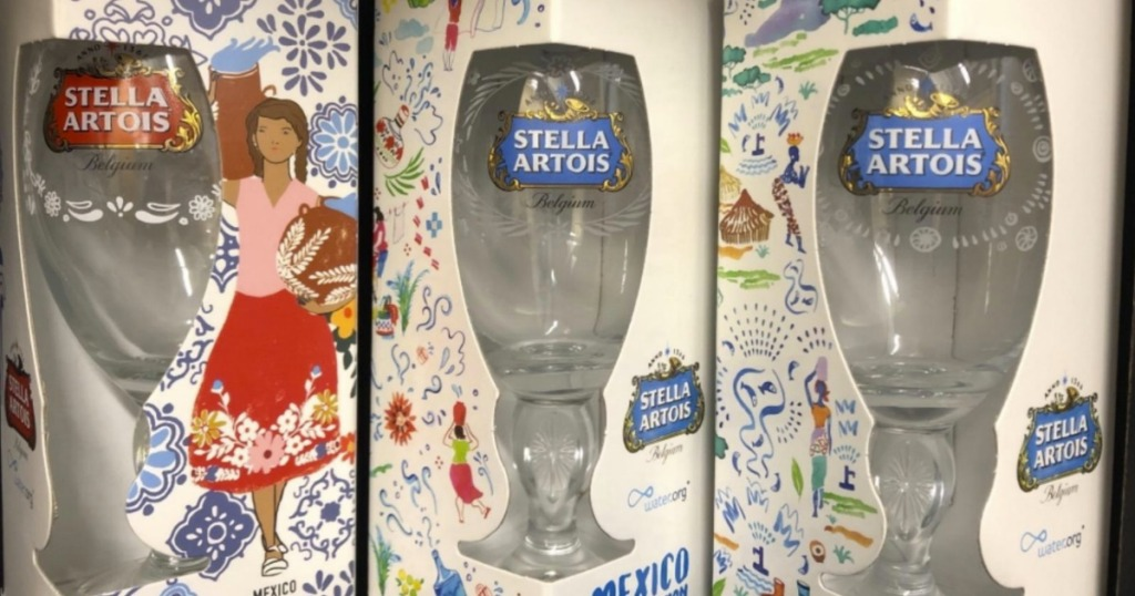 Three limited edition Stella Artois Beer Glasses