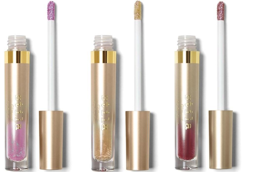 Stila Glitter Top Coat Lipstick in three colors