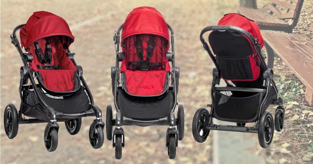 Red and black stroller Amazon at three angles