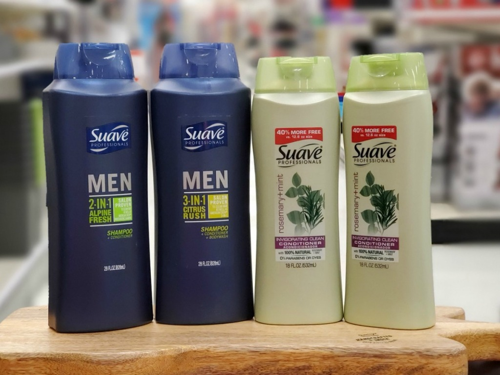Suave Professionals shampoo and conditioner on display in-store
