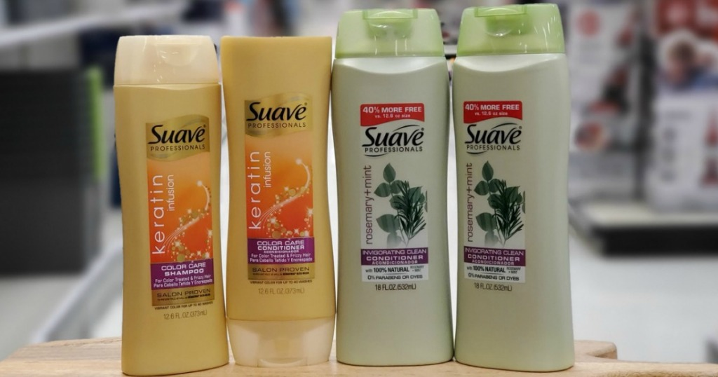 Four Suave Shampoo Bottles on display in-store