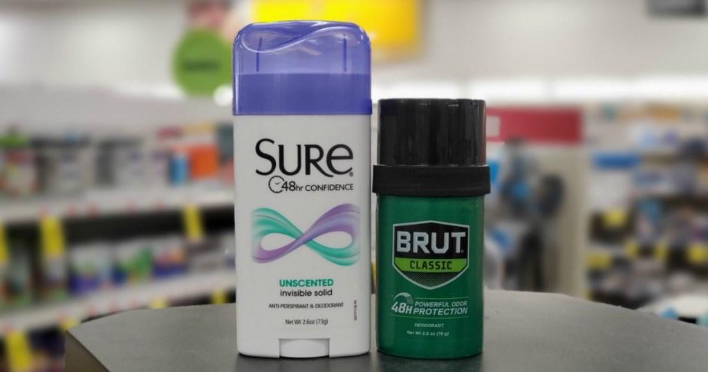 Sure and Brut Deodorant on shelf