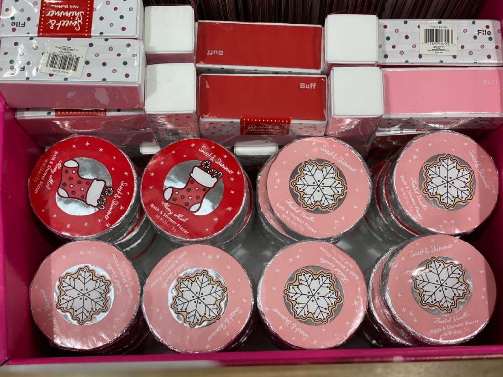 Sweet & Shimmer Bath Fizzers and nail buffers in store display in ULTA