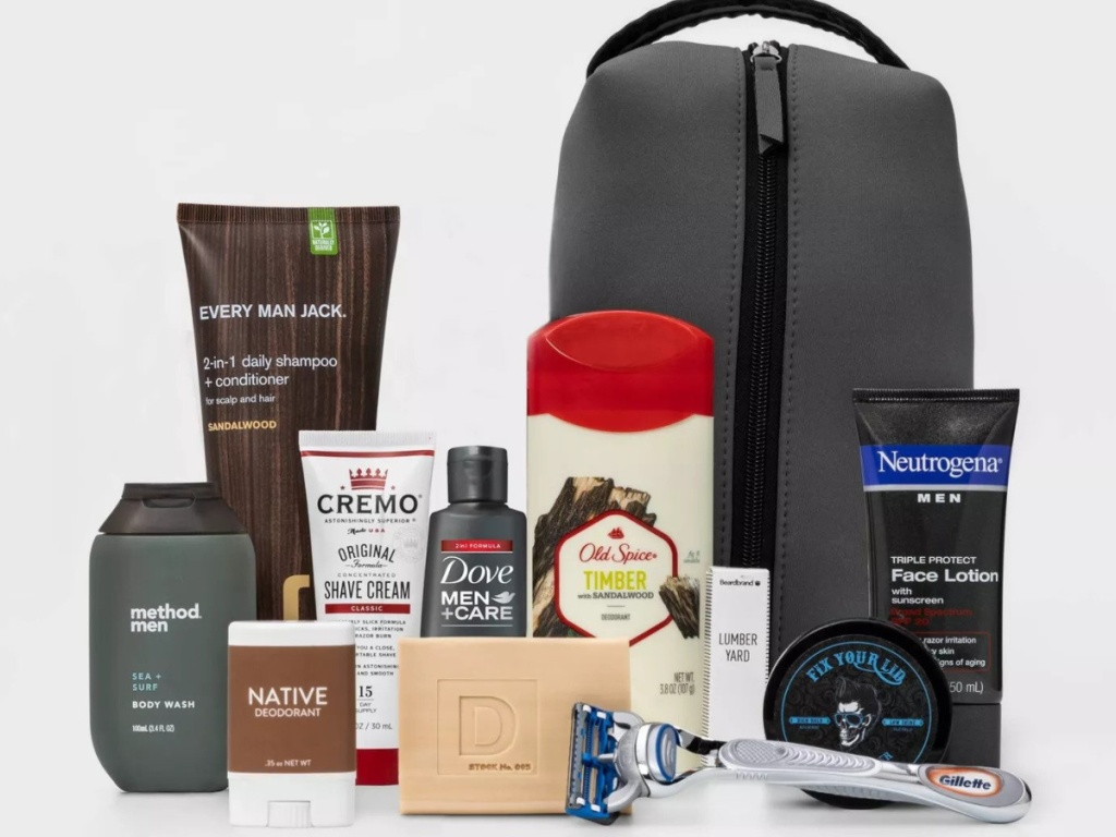 Target Mens Grooming Kit with bag and various sample size products